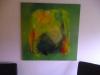 abstakt grøn komposition  80x80
