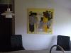 gul og beige komposition 80x80